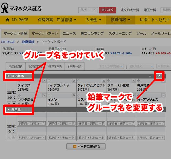 マーケットボードというポートフォリオの一例 グループの名前をつける手順の説明